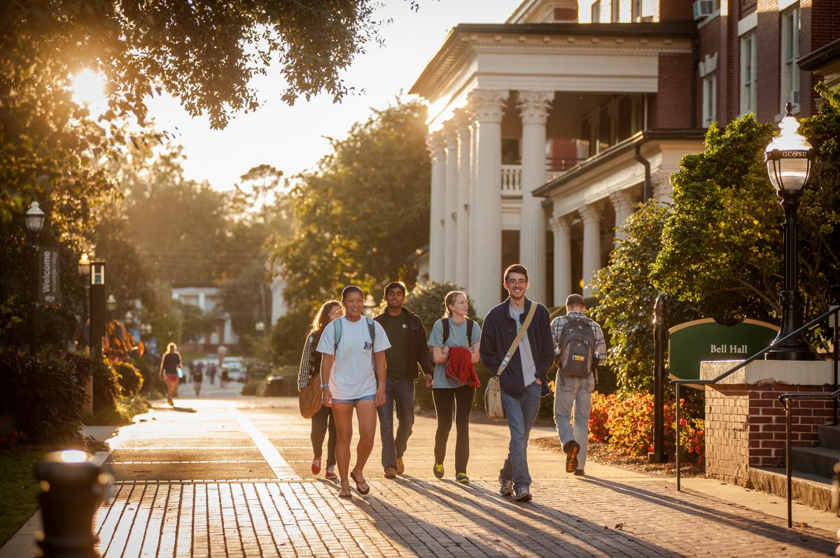 Students walking near Bell Hall